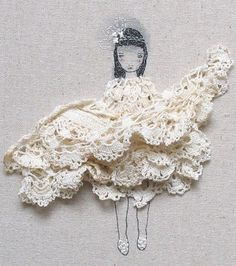 """""""Cute and quirky art using crochet doilies and stitch work by catherine_campbell on Flickr."""