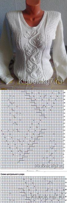 Красивый пуловер Ольги Коротковой | Клубок