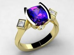 Christopher Michael Original Design With a Vivid Color Antique Cushion Tanzanite Weighing 1.51 Carats