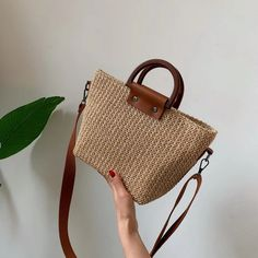 xiniu Bali Island Hand Woven Bag Round buckle Rattan Straw B… Mustang Shelby, Straw Tote, Crochet Handbags, Everyday Bag, Summer Bags, Womens Purses, Casual Bags, Handmade Bags, Fashion Bags