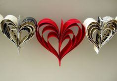 Add a bit of romance and whimsy to any room with this lovely garland of hand cut hearts. I love the black and white vintage feel yet modern appeal