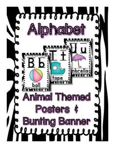 """Let's get wild about learning with this adorable animal themed resource! This download is for letters Aa-Zz (Alphabet) posters, a """"The ABCs"""" bunting banner and a """"The Alphabet"""" bunting banner. Posters include the uppercase and lowercase letters, picture association, and picture word."""