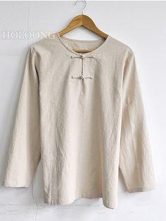 Cotton-Linen Casual Man wear Linen Solid color Men Loose Tops