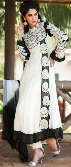 Off White and Black Bemberg Georgette Churidar Kameez