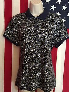 Liz Claiborne LIZGOLF Multi Colored Spotted Shirt Cap Sleeves Size XL | eBay