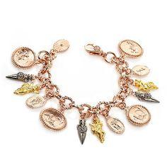 """Tagliamonte Bronze Tricolor Intaglio 8"""" Drop Bracelet"""