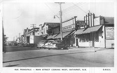 Circa 1958 Real Photo Postcard Main Street BATHURST  New Brunswick