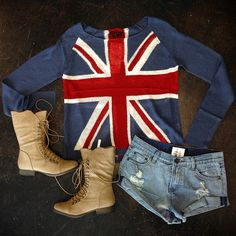 British Flag Sweater Beige Combat Boots Distressed Denim Shorts Styled by: @styleme_elvi Text/call 305-610-1155 for pricing #girlswillbegirls #miamiboutique #ootd #gwbgcouture #fashion #style #marivillalobos #miamifashion