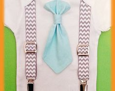 Baby Boy Clothes - Infant Tie Suspenders - Aqua Tie Chevron Suspenders - Cake Smash - Baby Tuxedo - Baby Boy First Birthday Outfit