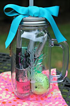 Welcome Gift for a new co-worker: Nail polish, EOS chapstick, Sharpie pens & gum - all in a cute mason jar tumbler.