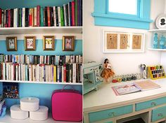 oooh... I can have a nook in my sewing room with a bookshelf and a comfy chair... that back wall/corner would work perfectly...
