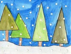 Winter art project: geometric trees - art projects for kids. Winter Art Projects, School Art Projects, Projects For Kids, Winter Project, Winter Craft, Project Ideas, Kindergarten Art, Preschool Art, Art Plastic