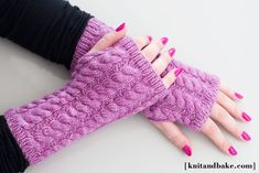 [ knitandbake.com ] Knitting pattern for cabled, fingerless gloves <3