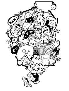 Doodle by han nguyen, via behance kawaii doodles, cute doodles, doodle wall Doodle Wall, Cute Doodle Art, Doodle Art Designs, Doodle Art Drawing, Kawaii Doodles, Cute Doodles, Doodle Monster, Graffiti Doodles, Doodle Characters