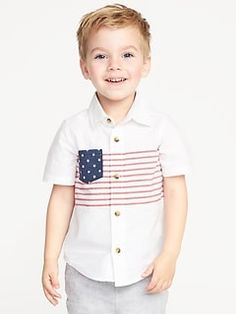 Old Navy Flag-Print Built-In Flex Shirt for Toddler Boys Toddler Boys, Kids Boys, Red And White Stripes, Blue And White, Navy Flag, Old Navy Kids, Shop Old Navy, Short Sleeve Button Up, Kids Fashion Boy