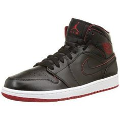 1cf1dd058164 Nike Men s Air Jordan 1 Mid Black Black White Gym Red Basketball Shoe -  D(M) US An encapsulated Air sole unit for lightweight cushioning Jordan  Wings logo ...