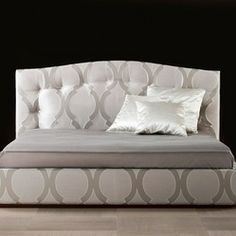 Sideways Bed with Storage | Gaia luxury Italian bed upholstered in fabric. This luxury modern ...