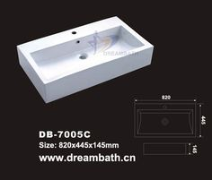 Product Name: Large Bathroom Sink Model No.: DB-7005C Dimension: 820X445X145mm  (1 inch = 25.4 mm)  Volume: 0.07CBM  Gross Weight: 35KGS  (1 KG ≈ 2.2 LBS) Sink shape: Rectangular