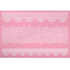 KitchenCraft Sweetly Does It Cake Lace Icing Mat with 3 Ornate Rose Fondant Moulds, Silicone, Pink, 39 x 29 cm Fondant Lace, Fondant Molds, Cake Craft Shop, Van Kitchen, Cake Lace Mat, Global Sugar Art, Edible Lace, Vintage Rosen, Sugar Lace