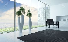 Living Room Interior With A Panoramic Glass Wall Overlooking.. Stock Photo, Picture And Royalty Free Image. Image 31683621.