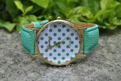 Mint Green leather bracelet watch women's wrist by BraceletTribal, $5.99 Simple handmade leather bracelets, fashion watches