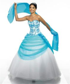 Turquoise color dress gowns