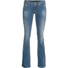 TRUE RELIGION Bobby Lonestar Med Drifter Flare leg stretch jeans ($170) ❤ liked on Polyvore featuring jeans, pants, fitted jeans, sexy jeans, slim fit blue jeans, stretchy jeans and blue jeans