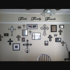 I have a wall of crosses in my living room and I LOVE it Cross Wall Collage, Cross Wall Decor, Crosses Decor, Wall Crosses, My Living Room, Living Room Decor, Bedroom Decor, Shabby, Decoration