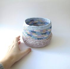 Pastel Tribal basket for small treasuries by pompomdesign on Etsy