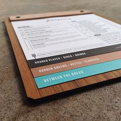 Wood board for support and 3 categories. This would work well for a burger joint