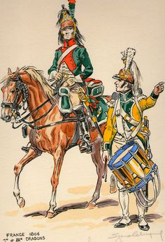 Dragone del 1 rgt. e tamburo del 22 rgt. dragoni francesi