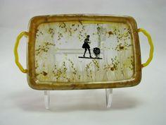 Celluloid dresser tray bavarian barmaid french maid barware home decor