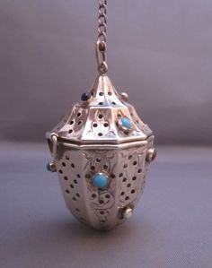 Beautiful Jewelled Sterling Silver Tea Infuser by Webster from rtfantiques on Ruby Lane