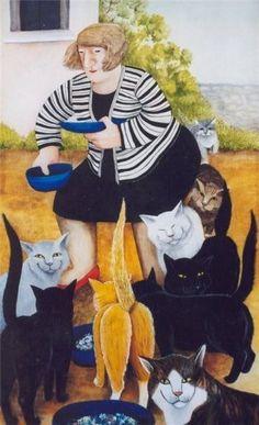 Beryl Cook, Cat Lady Feeding the Cats Crazy Cat Lady, Crazy Cats, I Love Cats, She And Her Cat, Beryl Cook, Animal Gato, Gatos Cats, Illustration Art, Illustrations