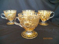 4 pcs Antique Blown Moser ? Glass High Relief GOLD Butterfly Enamel Footed Cups