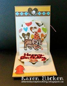 Karen Aicken using the Pop it Ups Lorna Label, Happy Birthday and Props 2 die sets by Karen Burniston for Elizabeth Craft Designs - Altered Scrapbooking: Karen Burniston's Designer Challenge Card #2