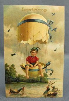 Antique Easter Postcard Greetings Boy Floating in Cracked Egg Hot Air Balloon