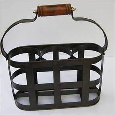 IRON BLACK RACK TABLE WINE BOTTLE HOLDER STAND Wine Bottle Holders, Handicraft, Nautical, Iron, Storage, Table, Furniture, Black, Home Decor