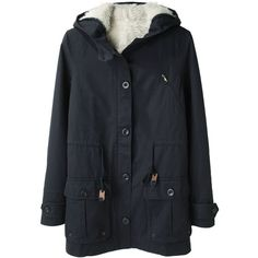 Le Mont St. Michel Hooded Fleece Lined Parka (€295) ❤ liked on Polyvore featuring outerwear, coats, jackets, tops, women, navy blue parka, long sleeve coat, fleece lined parka, navy coat and le mont st. michel