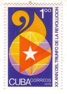 Estampilla. Conmemoración del 20 aniversario de la Revolución Cubana.