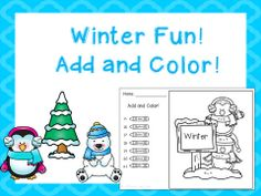 Winter Fun! Add and Color! Sums to 20!