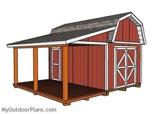 Barn Shed with Porch Plans | MyOutdoorPlans | Free Woodworking Plans and Projects DIY Shed Wooden Playhouse Pergola Bbq #shedplans 10x10 Shed Plans, Wood Shed Plans, Free Shed Plans, Storage Shed Plans, Shed With Porch, Shed Interior, Cheap Pergola, Diy Pergola, Pergola Kits
