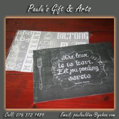 Need new place mats? We have a nice wide range for your perusal! Come and see at the Diaz Convenience Centre. Or call on: 076 372 1489 #gifts #arts #crafts