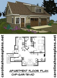 24 x 24 mother in law quarters plan with laundry room   Guest house      An alternative view    Craftsman style  garage apartment plan  Live in the  apartmant while building the main house