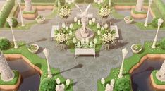 Animal Crossing Town Tune, Garden Animals, Meteor Garden, Flower Stands, Bunch Of Flowers, Flowers Garden, Island Design, Garden Statues, Sculpture Garden