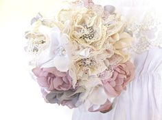 Fabric bouquet. preeetyyy! plus it'll last forever and just be gorgeous all the time.
