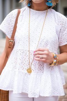 Eyelet Babydoll Top + Julie Vos - Something Delightful Blog