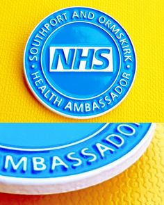 A fabulous example of ML's latest unique development of 'dye plating'- white plated NHS logo/wording with 1 colour soft enamel infill. Name Badges, Pin Badges, Make Your Own Badge, Eric Blair, Logo Word, Custom Badges, George Orwell, Nye, Plating