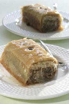 Kataifi Ioanina Style is wrapped in Phyllo- Nut-Stuffed Shredded Wheat Rolls Greek Sweets, Greek Desserts, Greek Recipes, Just Desserts, Dessert Recipes, Greek Baklava, Greek Pastries, Eat Greek, Greek Cooking