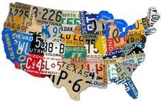 License Plate Map USA, 35 x 21 inch plasma cut metal art sign, U. Map, retro nostalgic home garage art, wall decor